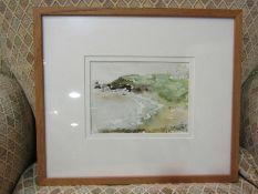 A naive watercolour of coastal scene, walking the dog,