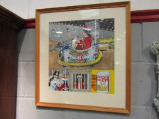 """A hand painted """"Daveys Dodgems and Sam's Ginger Ale"""" display,"""