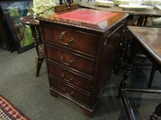 A Regency revival mahogany two drawer filing cabinet with tooled red leather top