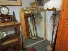 An early 19th Century gesso framed 5ft overmantel mirror with egg and dart border,