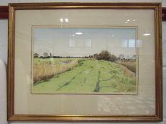 "JOHN DOYLE: Watercolour entitled ""On the Green Road, Romney Marsh"", 29 x 46cm,"