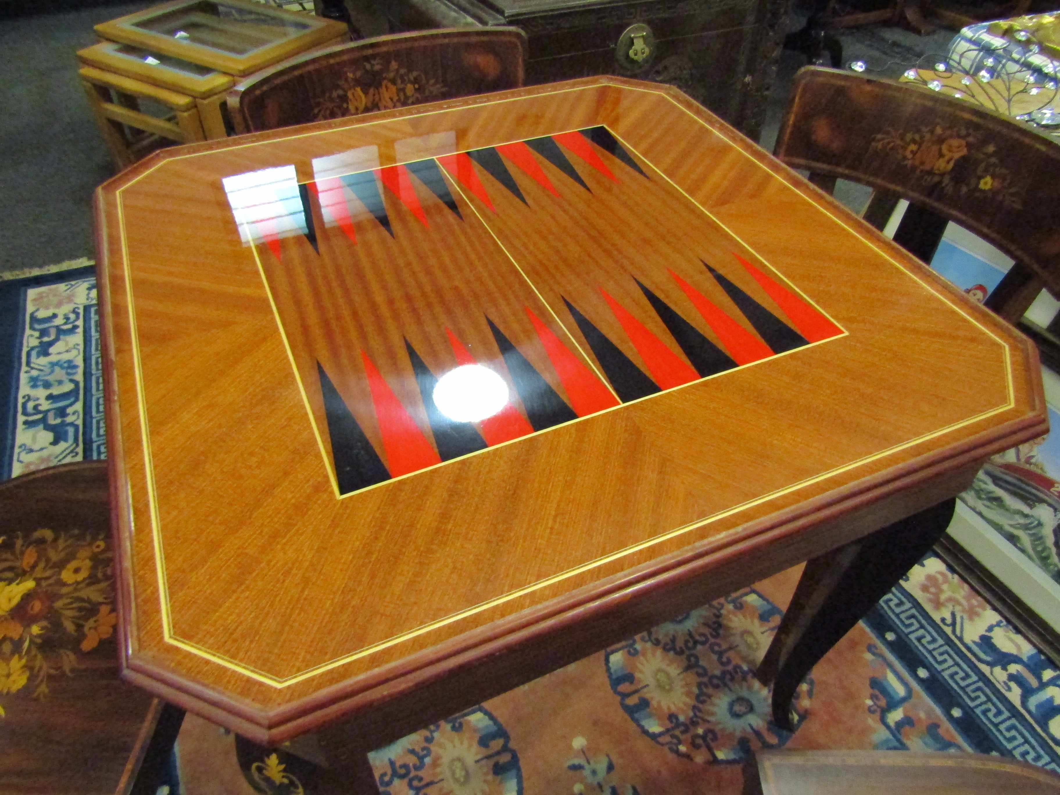 An Italian Indian rosewood games table with marquetry floral inlay. - Image 5 of 6