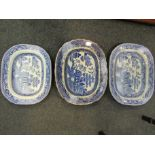 Three Victorian blue and white meat plates