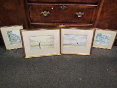 Two Peter Bearman watercolours of Broads scenes,