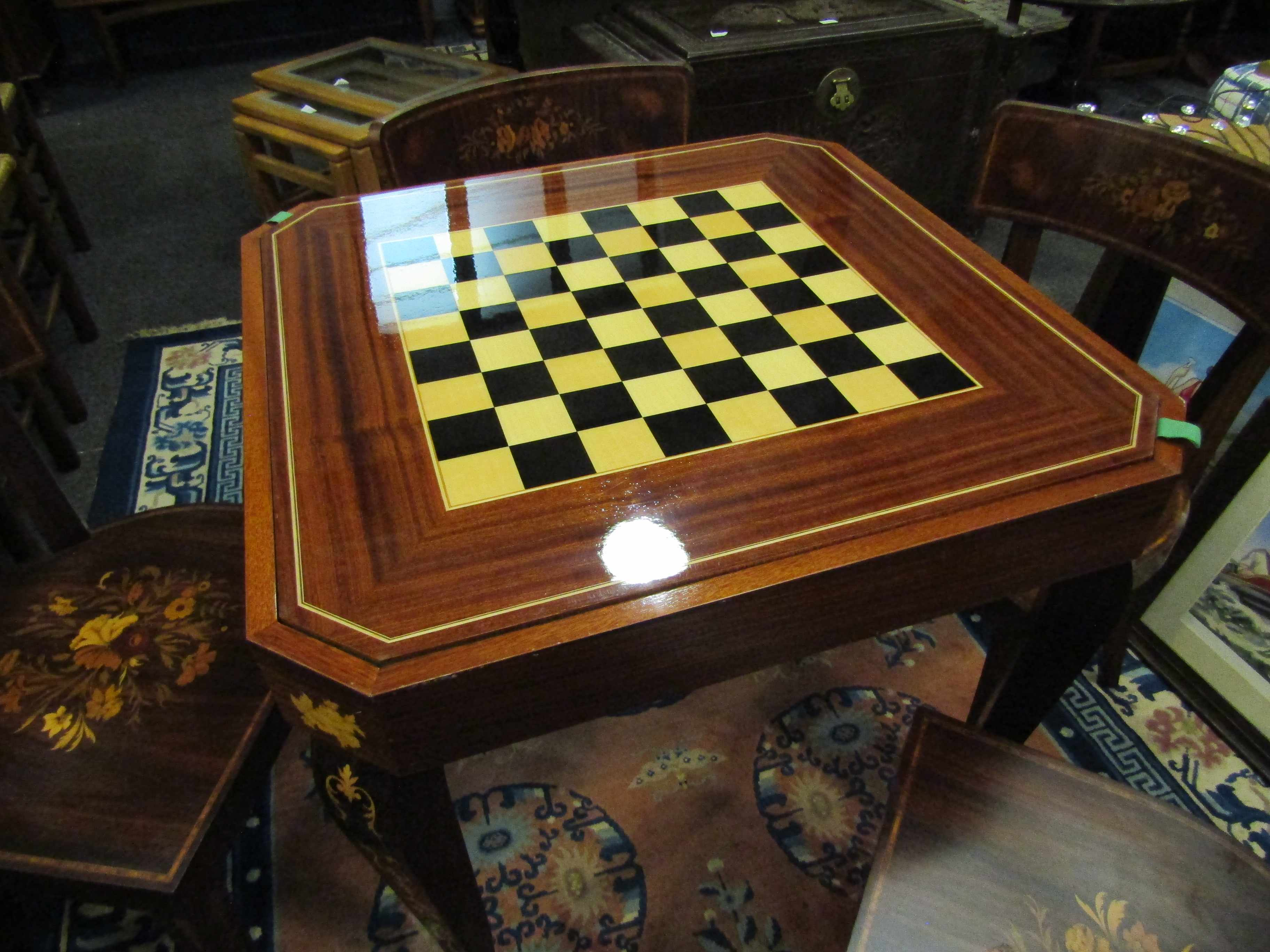 An Italian Indian rosewood games table with marquetry floral inlay. - Image 4 of 6