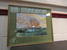 A watercolour of tall ship in full sail, 23.