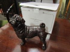 A large limited edition solid bronze Pug dog, boxed with certificate, No 4/50,