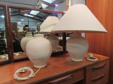 Two pottery lamps and a large shade
