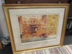 A large framed and glazed William Russell flint print of Venetian waterway, stamped,