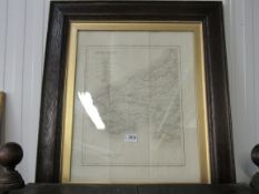 An early 19th Century engraved map of South Wales by J & C Walker, in oak frame,