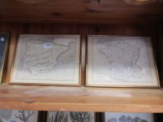A pair of early 19th Century gilt framed engraved maps of France and Spain with Portugal
