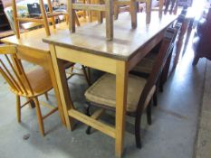 A 1950's science laboratory table 120w x 60d x 85h cm