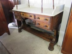A 19th Century figured walnut washstand with marble top 122w x 59d x 76h cm