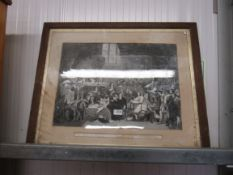 "A framed and glazed engraving ""The Trial of William Lord Russell in the Old Bailey"""