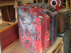 Two 1950's War department Jerry cans with worn paintwork