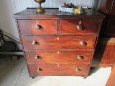 An early Victorian mahogany two over three chest of drawers 95W x 47D x 104H cm