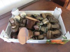 A set of four Victorian brass and brown porcelain castors and a box of odd castors