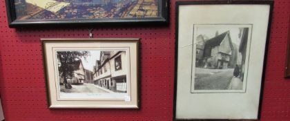 Two framed and glazed photographs of Elm Hill, Norwich through the ages,
