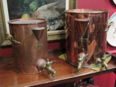 "Two ""Staines"" copper and brass tea urns,"