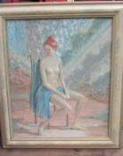 ROBERT HUNT (1934-2014) A framed oil on canvas, seated nude female. Signed.