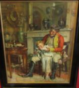19th Century Pears coloured print of soldier and child in ebonised glazed frame,