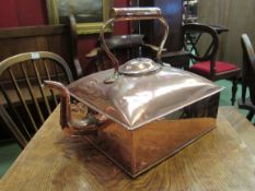 A Victorian country house copper square form kettle