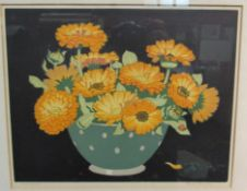 "JOHN HALL THORPE (1874-1947) pencil signed coloured etching ""Marigolds"", copyright 1922,"