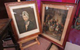 "Three Pears coloured prints including two interior scenes one entitled ""Tempted but Shy"" and a"