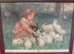 "Pears coloured print after Fred Margan ""Alice in Wonderland"" Pears annual 1904, framed and glazed,"