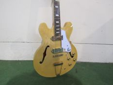 An Epiphone Casino semi-acoustic guitar with natural body, P90 pickups, soft cased, serial number 16