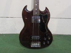 A Shaftesbury SG style electric bass guitar, mahogany body, chrome fittings,