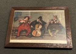 """A 1904 Pears print """"A Lively Measure"""" after Seymour Lucas RA of trio of musicians,"""