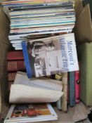 Three boxes of mixed radio and television related books including Marconi and servicing manual