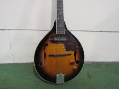 A Countryman mandolin of teardrop form, sunburst body with pickup and tortoiseshell pickguard,