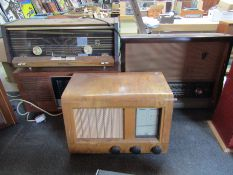 Four assorted wooden cased radios including Murphy and Eveready