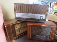 Three assorted wooden cased radios including Pye and Marconi