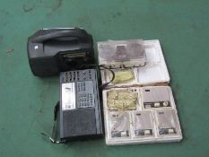 Two VCRs, a wind-up radio, receiver and transistor intercom set etc.