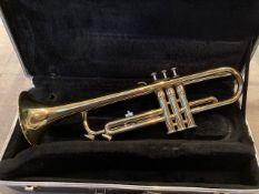 An Earlham Bb trumpet, serial number 07319,