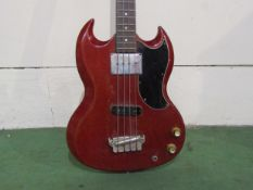 WITHDRAWN: A Gibson EB-0 SG form electric bass guitar dating to 1964, cherry red body,