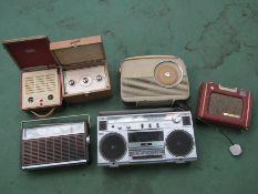 Six assorted portable radios including Bush,
