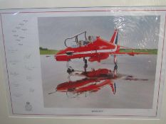 """A limited edition print after Mark Zanker """"Wash-Out"""" depicting Red Arrows Hawk on runway,"""