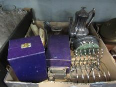 Two boxes of silver plated and glass wares including coffee pot,