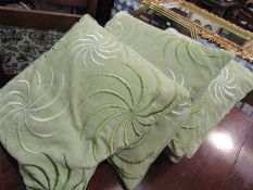 Five velour cushions with spiral design