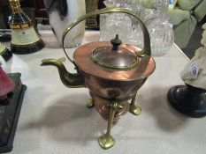An Art Nouveau copper kettle on stand, stamped,