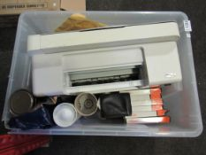 A printer together with vintage office supplies