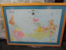 """A framed and glazed poster - """"Gregory's Down Under"""" map of the world."""