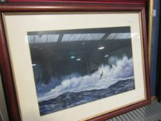 ALAN LEWIS (b. 1944): Two framed and glazed night time seascapes. signed.