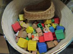 A bucket of toy blocks