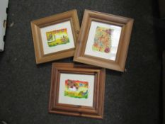 EMMA CLAIRE (XX/XXI): Three pine framed mixed media on paper of flowers. signed.
