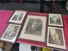 A box of mixed pictures including Cries of London